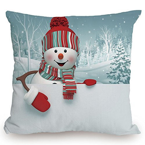 Throw Pillow Cushion Cover,Snowman,Smiling 3D Style Mascot with Hat and Scarf Snowy Mountains Trees Seasonal Happy Decorative,Multicolor,Decorative Square Accent Pillow Case