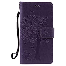 SZYT Phone Case for LG X Power K210 / K6P, Imprint Pattern Cat and Tree with Black Handle Purple