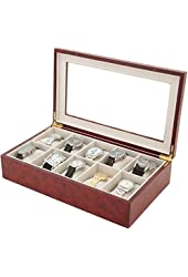 Watch Box for 10 Watches Burlwood Finish XL Extra Large Compartments Soft Cushions Clearance Window