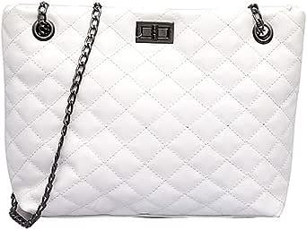 Women's Shoulder Bag Solid Color all Match Fashion Shoulder Bag Large Capacity Plaid Chain Handbag
