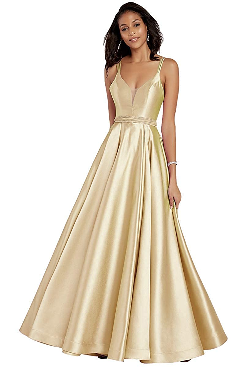 Champagne V Neck Sleeveless Satin Prom Dresses Long Evening Skirt Beaded Belt with Pockets