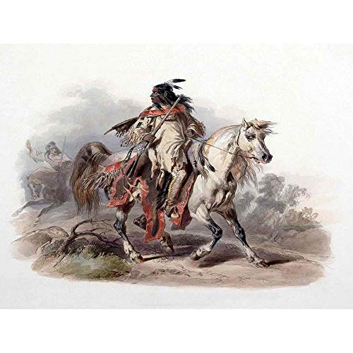 (Wee Blue Coo Painting Native American Bodmer Blackfoot Horseback Unframed Wall Art Print Poster Home Decor Premium)