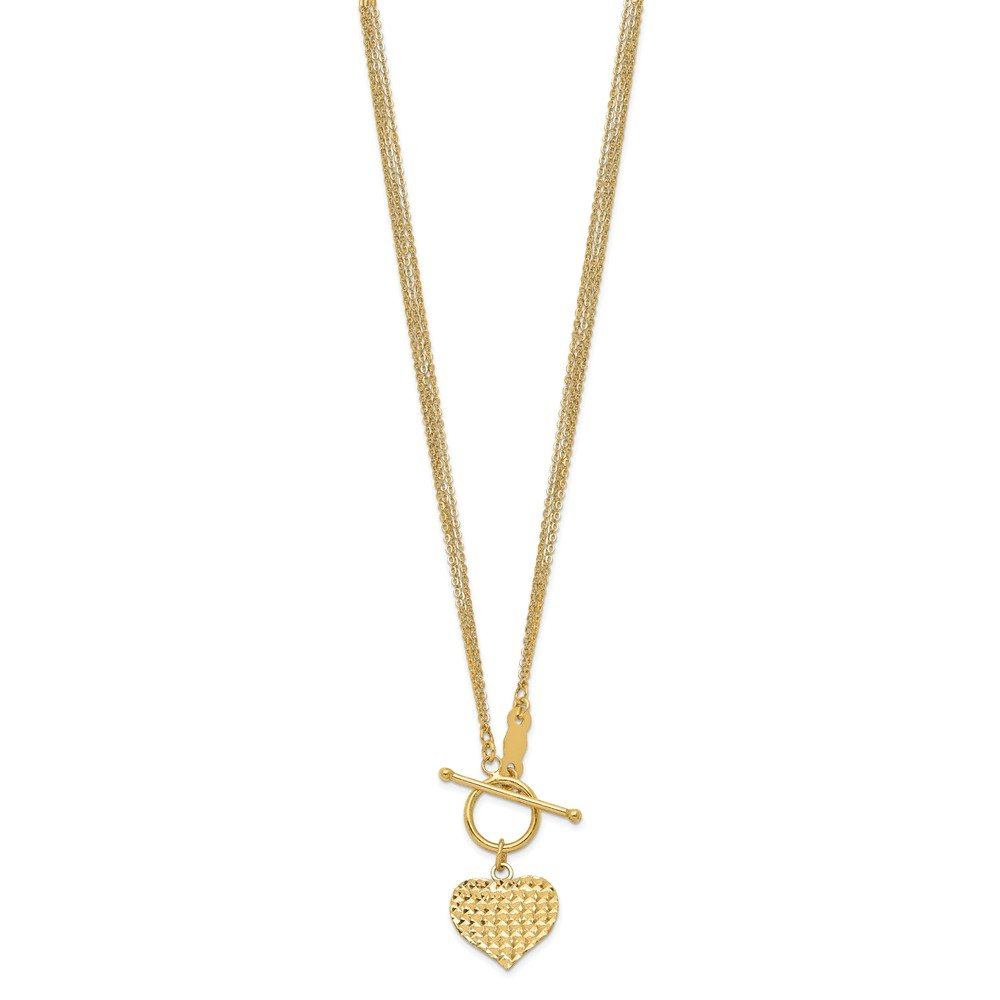 18 Inch Length Necklace 14k Yellow Gold Polished 3-Strand Diamond-cut Heart Toggle
