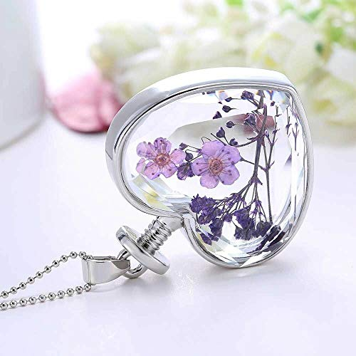 Dried Chain Natural Lucky Sweater Real Flowers Necklace Heart Glass Pendant