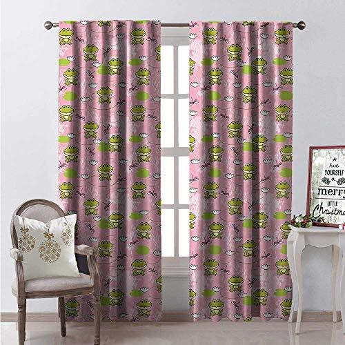 Hengshu Frogs Blackout Window Curtain Happy Amphibian Animals on a Pink Lake Backdrop Doodles Customized Curtains W72 x L108 Apple Green Pale Pink and White