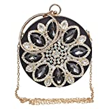 Womens Evening Bag Round Rhinestone Crystal Clutch Purse Ring Handle Handbag For Wedding and Party,Black-1.