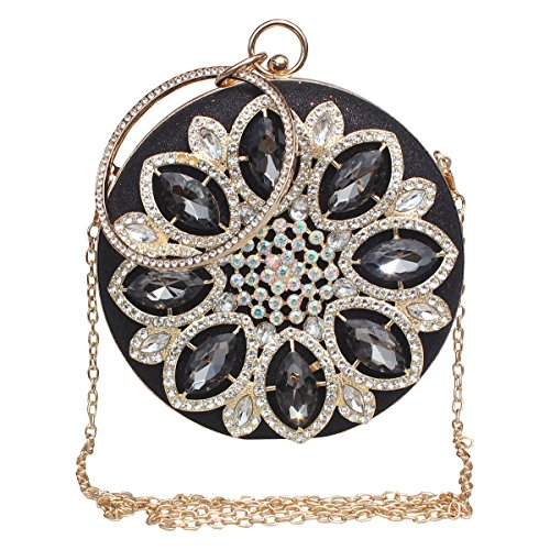 Womens Evening Bag Round Rhinestone Crystal Clutch Purse Ring Handle Handbag For Wedding and Party,Black-1. by GESU