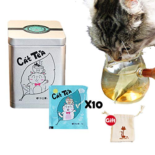 100% Natural Organic Catnip Tea, Catnip Toys,10 Packs a Box, let Cats Fall in Love with Drinking Water, Send a Cloth bagfor Kittens to Play,Prevent Urinary Calculi, Remove Hair Balls, ()