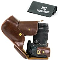 MegaGear Ever Ready Protective Leather Camera Case, Bag for Canon EOS T6i / Canon EOS T6s Camera with 18-200 (750D, 760D) DSLR Camera (Dark Brown)