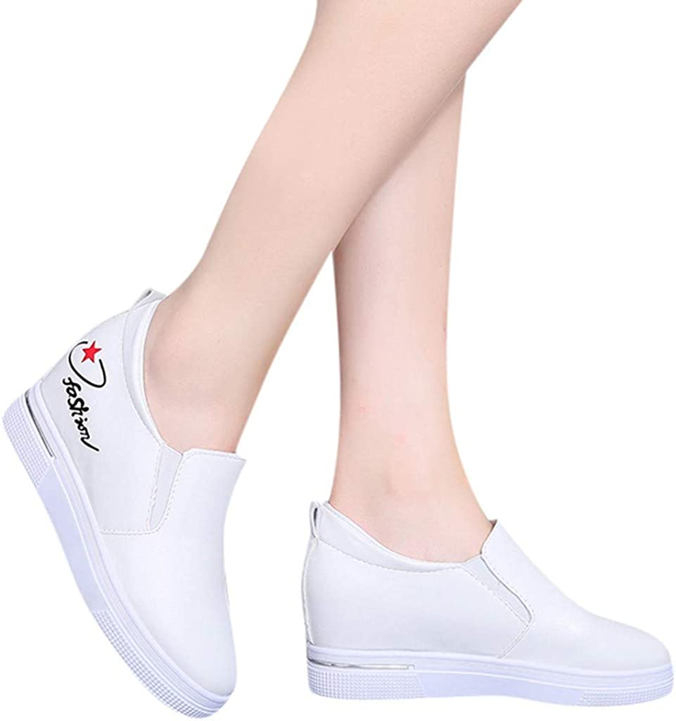 OrchidAmor Women Ladies Fashion Star Letter Flat Wedges Sport Loafers Sneakers Casual/Shoes White