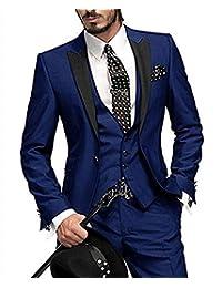 LoveeToo 3 piece 2017 New Men's Formal Slim Fit Business Suit Wedding