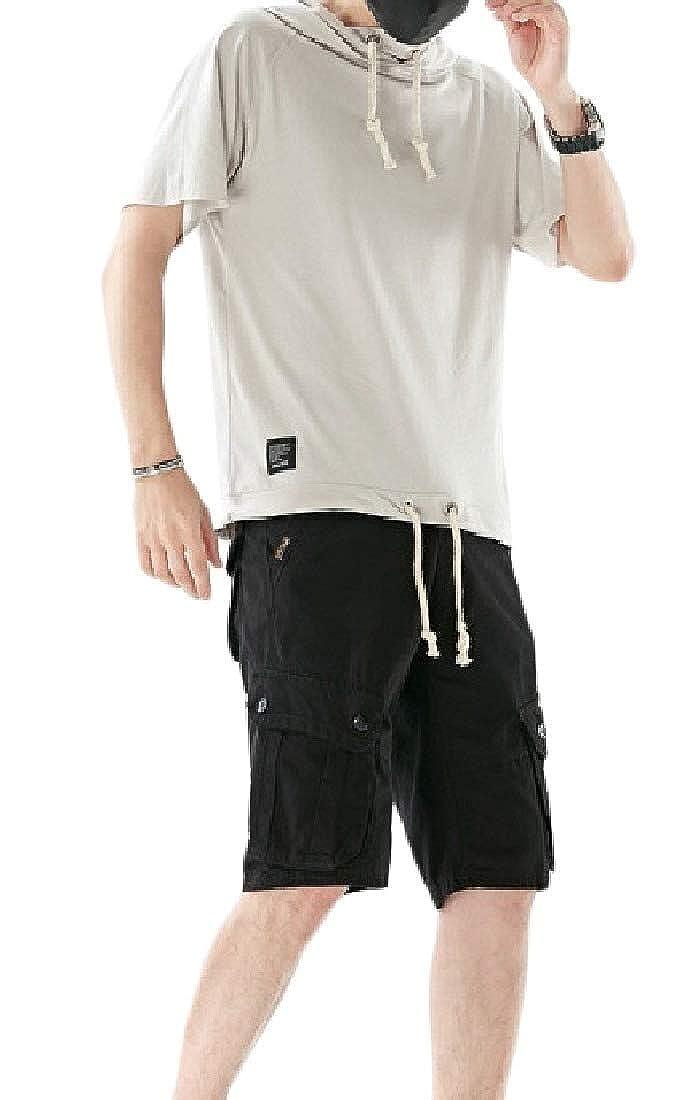 DressU Mens Athletic Hood Outdoor Summer Oversize Sweatshirt Pants Set
