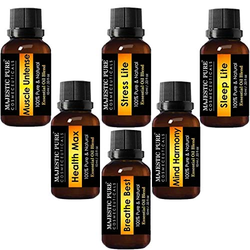 Majestic Pure Essential Oils Blends Set, Made from Pure Aromatherapy Essential Oils, 6/10 ml, Sleep Lite, Health Max - Breathe Best, Stress Lite, Muscle Untense, Mind Harmony