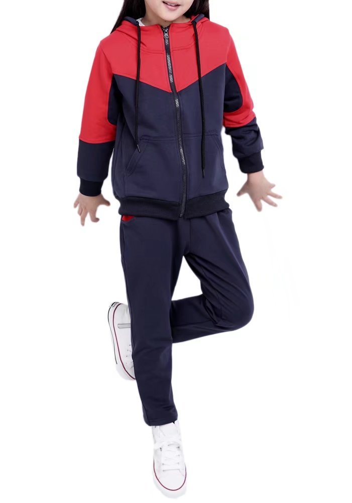 Kids Long Sleeves Zip Up Jacket & Jogger Sweat Pants Track Set Tracksuit Sportswear Outfit Sports Suit for Little & Big Girls, Black 5-6 Years=Tag 140 by BINPAW (Image #1)