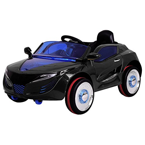 12v Battery Powered Car (Costzon Kids Ride On Car, 12V Battery Powered Remote Control w/Opening Doors LED Lights (Black))