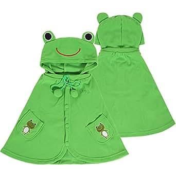 Adorable Cartoon Baby Clothes Cloak Baby Kids Warm Hood Cape Coat 66cm (Frog)