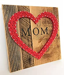 Mom string art heart sign made on reclaimed wood. A unique and special gift for Mother\'s Day from the kids. #1 Best Mom gift!