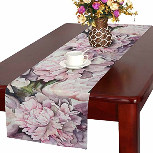 (InterestPrint Watercolor Peonies Pink Flowers Painting Table Runner Cotton Linen Cloth Placemat for Office Kitchen Dining Wedding Party Banquet 16 x 72 Inches)