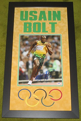 USAIN BOLT JAMAICA OLYMPICS SIGNED 11X14 PHOTO PROFESSIONALLY FRAMED PSA COA