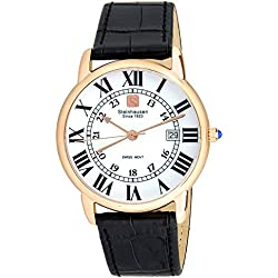Steinhausen Men's S0722 Classic Delémont Swiss Quartz Stainless Steel Watch With Black Leather Band