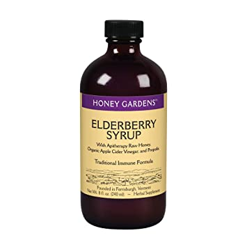 Honey Gardens Elderberry Syrup with Apitherapy Raw Honey, Propolis &  Elderberries   Traditional