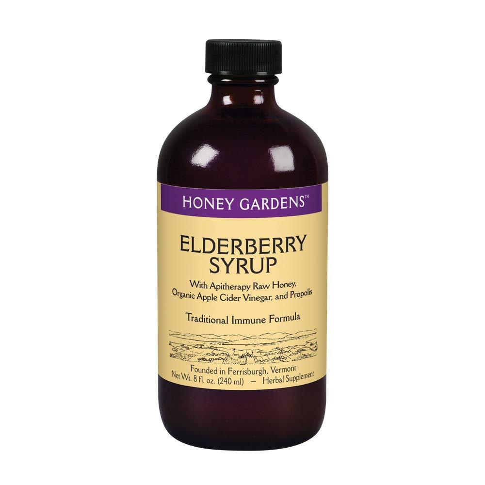Honey Gardens Elderberry Syrup with Apitherapy Raw Honey, Propolis & Elderberries   Traditional Immune Formula w/Echinacea   8 fl. oz.