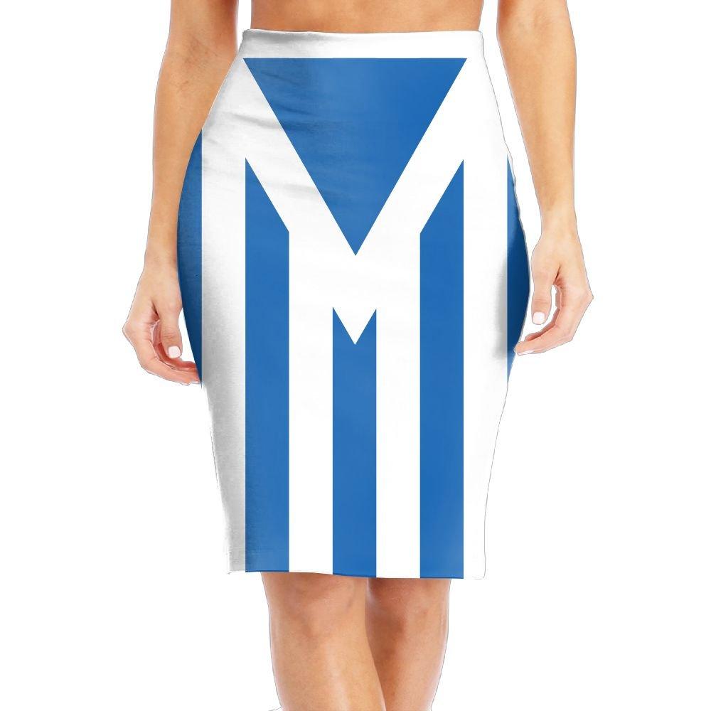 WANING MOON Women's Fine Blue Line American Flag High Waist Slim Skirt Office Pencil Dress for Women Length