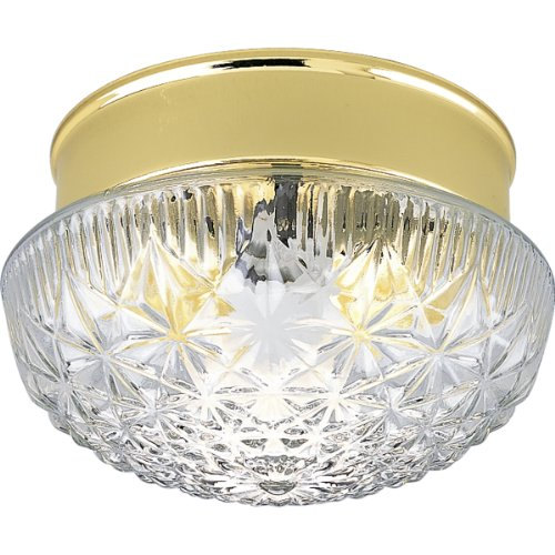 Progress Lighting P3503-10 Snap-In Fitter with Patterned Clear Glass, Polished Brass