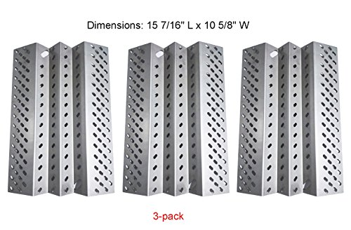 SH2461 (3-pack) Stainless Steel Heat Plate Replacement for Select American Outdoor Grill Gas Grill ()