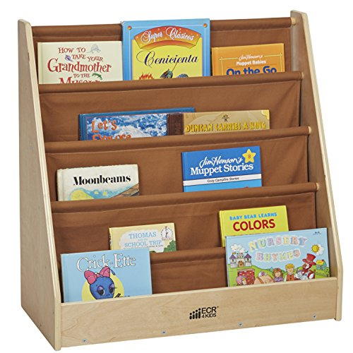 ECR4Kids Birch and Canvas Single-Sided Book Display (Single Tiered)