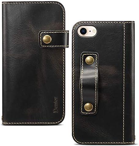 iPhone8 iPhone7 ケース 本革 手帳型 ストラップ付き スタンド機能 マグネット開閉 大容量カード收纳 全面保護 高級感 おしゃれ 柔らかい 牛革カバー アイフォーン (iPhone7/iPhone8, ブラック)