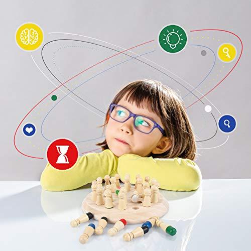Peradix Échecs de Mémoire pour Enfant,Jeu D\'echecs en Bois pour la Mémoire ,Echec de mémoire de Jouet Montessori,Jouets de Couleurs Cognitive,Adapté Aux Enfants de Plus de 3 Ans