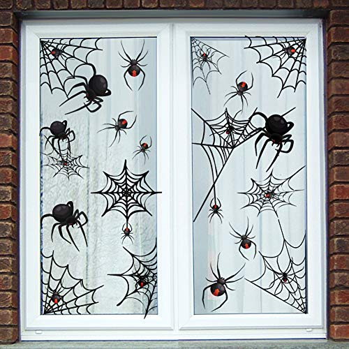 75PCS Spider Web Window Stickers Halloween Decorations Decals - Haunted House Party Supplies Ornaments-6 sheets