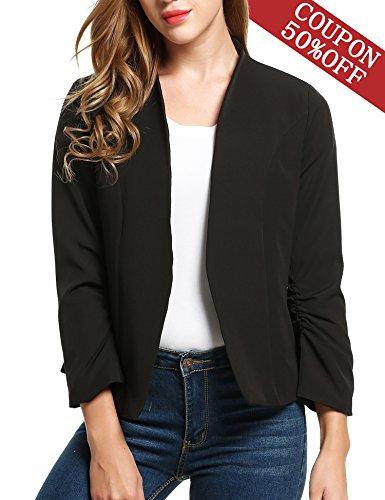 ELESOL Women Elegant Slim Fit Color Matching OL Suit Jacket No-Buckle Blazer Suits Black XXXL by ELESOL