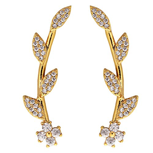 Ear Crawler Earrings for Women Ear Climber Cuff Earrings Gold Leaf CZ - 18k Gold Electroplate Ring