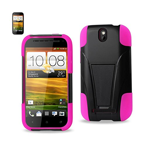 Reiko Wireless HTC One Sv Hybrid Heavy Duty Case with Kickstand in Black Hot Pink - Colored ()
