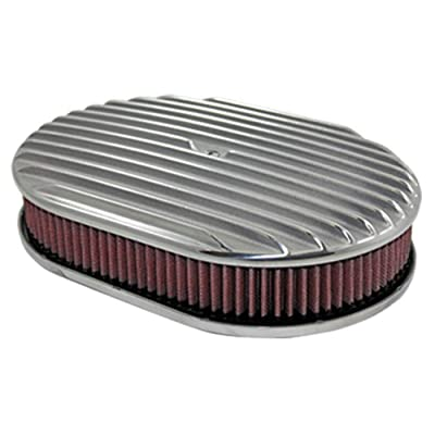 "12"" Full Finned Polished Aluminum Oval Air Cleaner W/Washable Filter Chevy V8: Automotive"