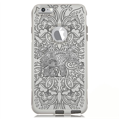Unnito iPhone 6 Case  Hybrid Commuter Case   Slim Cover with Hard Shell Design and Soft Inner Layer Compatible with iPhone 6S White Case - Mandala Elephant