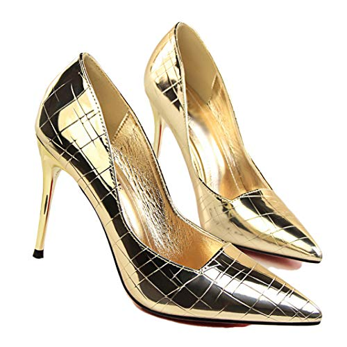 (Drew Toby Women Pumps Retro Stone Pattern Patent Leather Pointed Toe Shallow High Heels)
