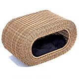 wicker pet bed Fun Stackable Wicker Cat Hideaway House - Interactive Play Rattan Cat House for Indoor Cats Kitty, Pet Friendly Top/Side House Entry, Cat Bed Enclosed