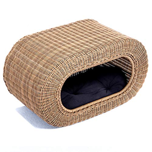 Fun Stackable Wicker Cat Hideaway House - Interactive Play Rattan Cat House for Indoor Cats Kitty, Pet Friendly Top/Side House Entry, Cat Bed Enclosed