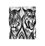 VROSELV Custom Blanket Safari Cat Expression Opposite Images Fearsome Teeth Mirror Angry Intense Wildlife Bedroom Living Room Dorm