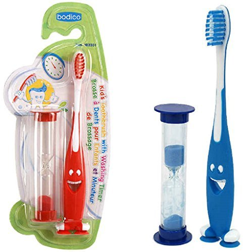 Smiley Kids Toothbrush 2 pack, Red & Blue with 2 minutes ...