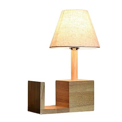 Solid Wood Table Lamp Bedroom Bedside Decorative Nordic Study Creative Bookshelf Desk Button