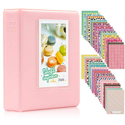Ablus 64 Pockets Mini Photo Album for Fujifilm Instax Mini 7s 8 8+ 9 25 26 50s 70 90 Instant Camera & Name Card (64 Pockets, Pink)