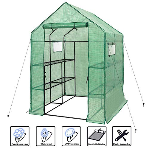 Deluxe Green House 56″ W x 56″ D x 77″ H,Walk in Outdoor Plant Gardening Greenhouse 2 Tiers 8 Shelves – Window and Anchors Include,Green
