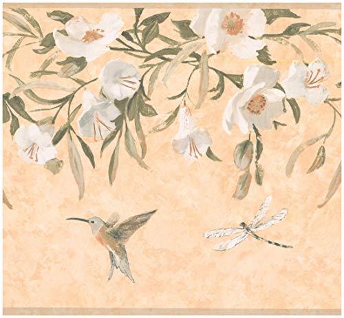 Prepasted Wallpaper Border - Hummingbird Dragonfly White Flowers Orange Yellow Wall Border Retro Design, Roll 15 ft. x 10 ()