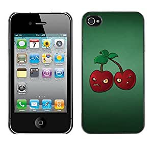 Qstar Arte & diseño plástico duro Fundas Cover Cubre Hard Case Cover para Apple iPhone 4 / iPhone 4S / 4S ( Angry Grumpy Cherries Red Berries Healthy Food)