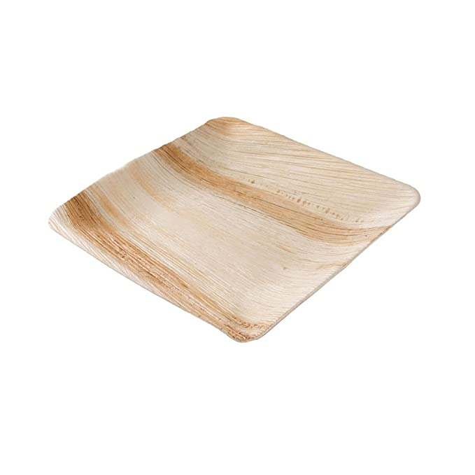 BIOZOYG Platos de Hojas de Palma | 25 Piezas de ojas de Palma Rectangular 23 x 23 cm | Bio vajilla desechable Boda compostable Biodegradable Vajilla de ...