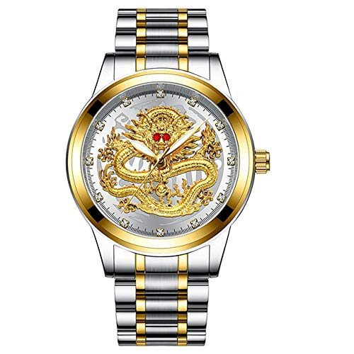 (Majinz Store Diamond Bangle Bracelet Luxury Watches Men Embossed Gold Dragon Waterproof Watch Mens Diamond Ruby Fashion Casual Japan Quartz Clock New)